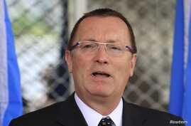 United Nations Under-Secretary-General for Political Affairs Jeffrey D. Feltman addresses a news conference at the presidential palace in capital Mogadishu, Somalia, June 27, 2013.