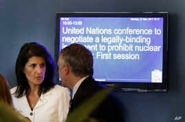 United States Ambassador to the United Nations Nikki Haley outside the General Assembly at U.N. headquarters, March 27, 2017.