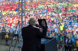 President Donald Trump speaks at the 2017 National Scout Jamboree in Glen Jean, West Virginia, July 24, 2017.