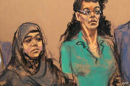 FILE-  courtroom sketch, defendants Noelle Velentzas, left and Asia Siddiqui, appear at federal court in New York. The two women arrested last month for plotting to build a homemade bomb and wage jihad in New York City pleaded not guilty, May 7, 2015