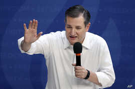 Republican presidential candidate Sen. Ted Cruz, R-Texas, speaks at a campaign rally in Syracuse, New York, April 15, 2016.