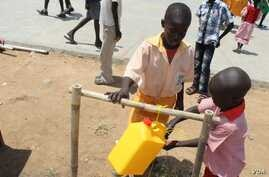 Children wash their hands in Juba, South Sudan, during a campaign to promote the habit.