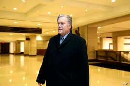 Former White House strategist Steve Bannon leaves a House Intelligence Committee meeting where he was interviewed behind closed doors on Capitol Hill, Jan. 16, 2018, in Washington.