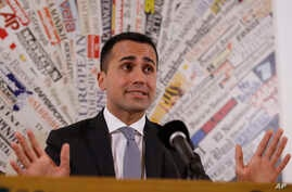 Five-Star Movement's leader Luigi Di Maio, talks at the foreign press association headquarters in Rome, March 13, 2018.