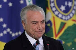 Brazil's President Michel Temer attends the inauguration ceremony of his new Justice Minister Torquato Jardim at Planalto presidential palace in Brasilia, Brazil, May 31, 2017.