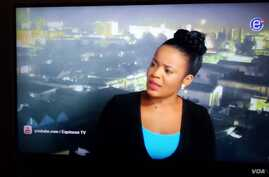 FILE - Mimi Mefo in studio presenting news.