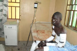 A victim of a Boko  Haram attack receives treatment at a hospital, in Maiduguri, Nigeria, Dec. 28, 2015.