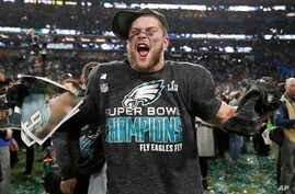 Philadelphia Eagles' Nate Gerry celebrates after the NFL Super Bowl 52 football game against the New England Patriots Sunday, Feb. 4, 2018, in Minneapolis. The Eagles won 41-33.