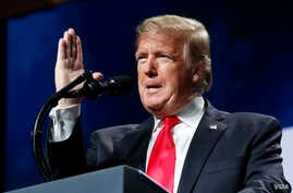 President Donald Trump speaks at the American Farm Bureau Federation's 100th Annual Convention, Jan. 14, 2019, in New Orleans.