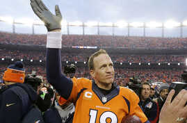 FILE -  Denver Broncos quarterback Peyton Manning waves to spectators following the AFC Championship game between the Denver Broncos and the New England Patriots, in Denver, Jan. 24, 2016.