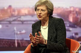 "Britain's Prime Minister Theresa May speaks on the BBC's ""The Andrew Marr Show"" in this BBC photo in London, Jan. 22, 2017. In response to a British lawmaker, May said of her country, ""We do not sanction torture, we do not get involved with that, and"