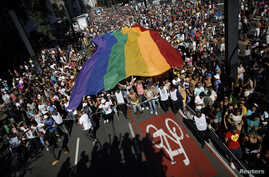 Activists carry a rainbow flag during a gay pride parade in Sao Paulo, Brazil, May 4, 2014.