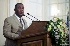 FILE - Sri Lankan Foreign Minister Mangala Samaraweera speaks during a news conference at the Ministry of Foreign Affairs in Colombo, Sri Lanka, May 2015.
