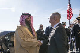 Defense Secretary James N. Mattis meets with Saudi Arabia's First Deputy Prime Minister and Minister of Defense, Crown Prince Mohammed bin Salman bin Abdulaziz at the Pentagon in Washington D.C., Mar. 22, 2018.