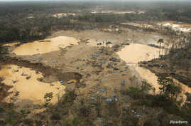 An area deforested by illegal gold mining is seen in a zone known as Mega 13, at the southern Amazon region of Madre de Dios, Peru, Jan. 25, 2014.