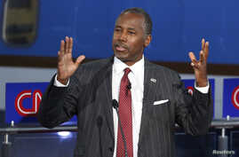 Republican U.S. presidential candidate Dr. Ben Carson speaks during the second official Republican presidential candidates debate, Sept. 16, 2015.