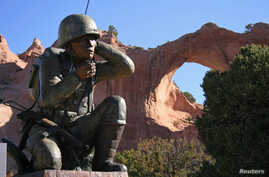 The Navajo Code Talkers monument at Window Rock, Arizona, May 29, 2007. The group of Native America Marine Corps veterans are credited with playing a key role in the Pacific campaign in World War II. Picture taken May 29, 2007.
