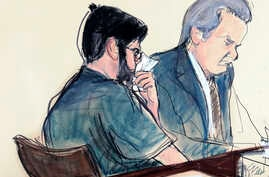 "In this courtroom sketch, former pharmaceutical CEO Martin Shkreli, left, is seated next to his lawyer Ben Brafman in federal court, March 9, 2018, in New York. ""Pharma Bro,"" vilified for jacking up the price of a lifesaving drug, was sentenced to se"