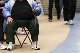 An overweight woman sits on a chair in Times Square in New York, May 8, 2012. America's obesity epidemic is so deeply rooted that it will take dramatic and systemic measures - from overhauling farm policies and zoning laws to, possibly, introducing a