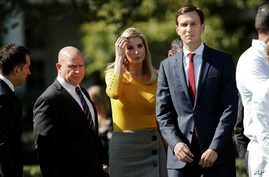 Ivanka Trump, the daughter of and assistant to President Donald Trump, and her husband, White House senior adviser Jared Kushner, walk on the South Lawn of the White House in Washington, Oct. 2, 2017. President Trump and his Republican partners in a