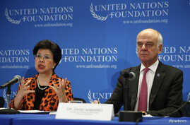 WHO Director-General Margaret Chan, left, and United Nations official David Nabarro lead a briefing on the Ebola outbreak in West Africa at the UN Foundation in Washington Sept. 3, 2014.