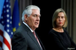 U.S. Secretary of State Rex Tillerson and European Union foreign policy chief Federica Mogherini address a joint news conference at the European Council in Brussels, Belgium, Dec. 5, 2017.