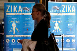 FILE - Material to prevent Zika infection by mosquitoes are displayed at the 69th World Health Assembly at the United Nations European headquarters in Geneva, Switzerland, May 23, 2016.
