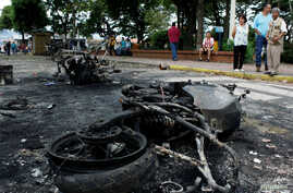 Burnt police motorcycles are the result of a protest against Venezuela's President Nicolas Maduro's government in Palmira, Venezuela May 16, 2017.