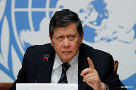 Marzuki Darusman, chairperson of the Independent International Fact-Finding Mission on Myanmar attends a news conference on the publication of a final written report at the United Nations in Geneva, Switzerland, Aug. 27, 2018.