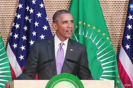 U.S. President Barack Obama delivers a speech before the African Union in Addis Ababa, Ethiopia on July 28, 2015.