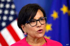 U.S. Secretary of Commerce Penny Pritzker speaks during a news conference in the Commission Berlaymont building in Brussels, Belgium, Tuesday, July 12, 2016.