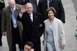 Former President of the United States George W. Bush and wife Laura Bush arrive near the east front steps of the Capitol Building before President-elect Donald Trump is sworn in at the 58th Presidential Inauguration on Capitol Hill in Washington,D.C.