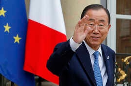 United Nations Secretary-General Ban Ki-moon, after a working lunch with French President Francois Hollande at the Elysee Palace in Paris, Aug. 25, 2015.