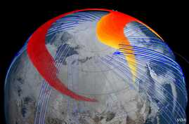 Still from animation about the meteor plume Model and satellite data show that four days after the bolide explosion, the faster, higher portion of the plume (red) had snaked its way entirely around the northern hemisphere and back to Chelyabinsk, Ru