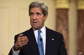 U.S. Secretary of State John Kerry speaks at the State Department, April 2, 2013.