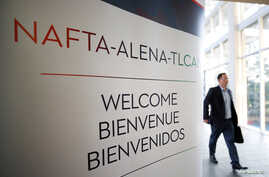 A sign is pictured where the third round of NAFTA talks involving the United States, Mexico and Canada is taking place in Ottawa, Ontario, Canada, Sept. 23, 2017.