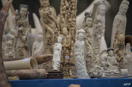 FILE - Carved ivory is shown to the media before being destroyed in Beijing on May 29, 2015.