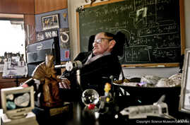 Stephen Hawking in his office at University of Cambridge, where he founded the Centre for Theoretical Cosmology. (Science Museum)