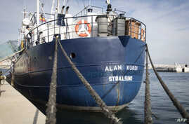 FILE - This photo shows the Sea Eye rescue ship named after Alan Kurdi during its inauguration in Palma de Mallorca, Feb. 10,  2019.