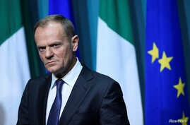 President of the European Council Donald Tusk arrives at a press conference in Dublin, Ireland, Dec. 1, 2017.