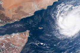 This satellite image captured by NOAA on Saturday, Oct. 30, 2015 shows Tropical Cyclone Chapala, it nears the Arabian peninsula. Chapala is expected to make landfall over eastern Yemen between the late evening hours of Monday and early Tuesday.