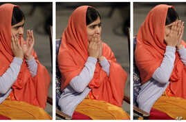 In this combo of three images Nobel Peace Prize winner Malala Yousafzai from Pakistan, puts her hands to her face as she sits  during the Nobel Peace Prize award ceremony in Oslo, Norway, Dec. 10, 2014.