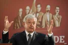 Mexico's President Andres Manuel Lopez Obrador holds his first news conference as president, which started at 7 a.m. local time in Mexico City, Dec. 3, 2018.