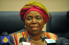 Newly elected South African minister Nkosazana Dlamini-Zuma as first female head of the African Union (AU) Commission, speaks during a press conference,July 16, 2012.