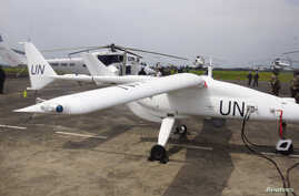 FILE - A U.N. drone is seen in the Democratic Republic of Congo's eastern city of Goma, December 3, 2013.