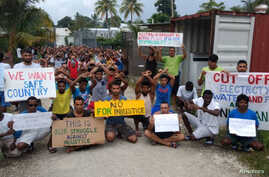 Asylum seekers protest on Manus Island, Papua New Guinea, in this picture taken from social media, Nov. 3, 2017.