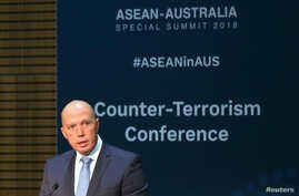 Australia's Home Affairs Minister Peter Dutton speaks at the opening of the Counter Terrorism Conference during the summit of the 10-member Association of Southeast Asian Nations (ASEAN) in Sydney, March 17, 2018.