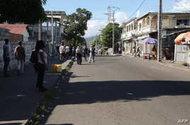 A general view of a main street is seen on March 28, 2019 in Moroni, after gunfire was heard in the Comorian capital.