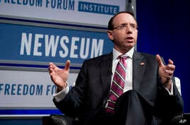 Deputy Attorney General Rod Rosenstein speaks during an event at the Newseum, May 1, 2018 in Washington.