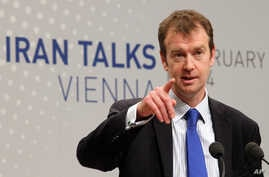 Michael Mann, spokesperson for EU foreign policy chief Catherine Ashton speaks to press during closed-door nuclear talks in Vienna, Austria, Feb. 18, 2014.